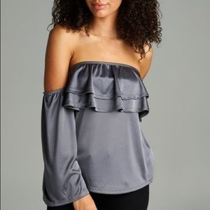 Satin Charcoal Ruffle Off Shoulder Top